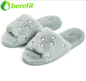 Pantuflas de mujer Furry Slides with Pearls Mint
